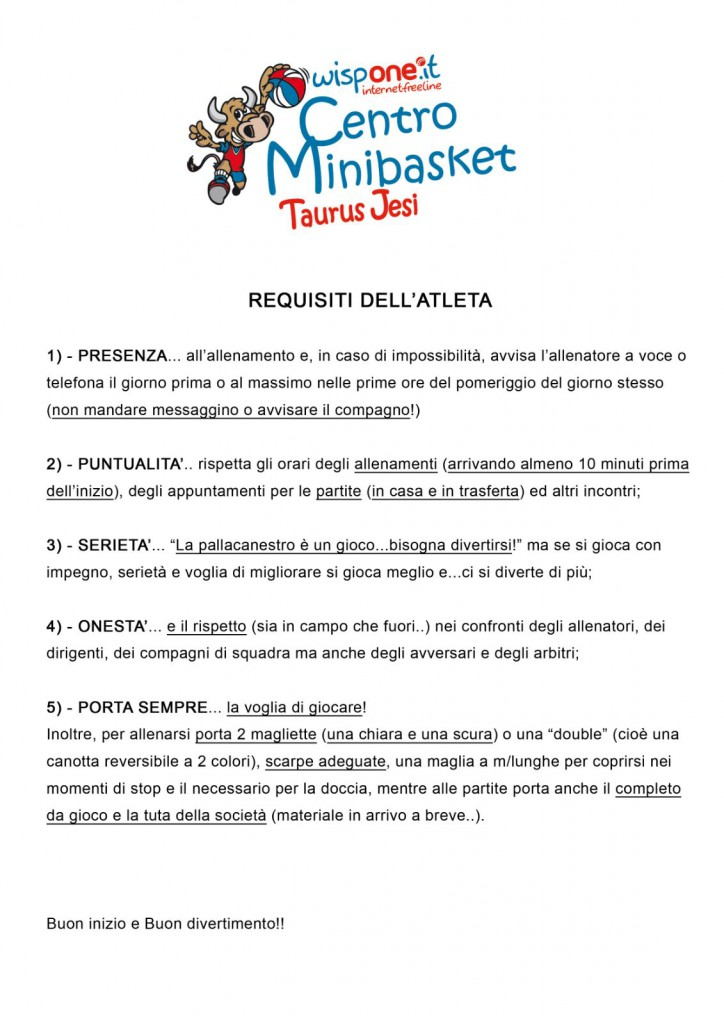 Requisiti dell'atleta